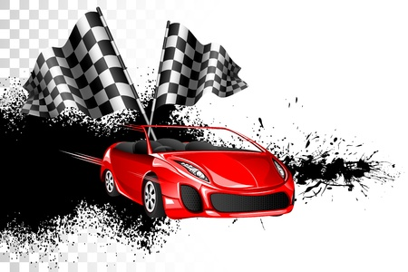 formula one: illustration of racing car with checker flag on grungy background