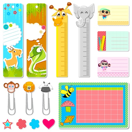 timetable: illustration of set of school stationery in animal theme