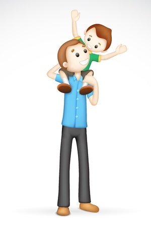 father day: illustration of 3d father giving boy piggy back ride in fully scalable