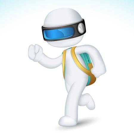 scholars: 3d ilustraci�n de ni�o corriendo con la escuela en totalmente escalable