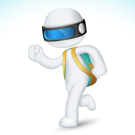 happy young people: illustration of 3d boy running with school in fully scalable