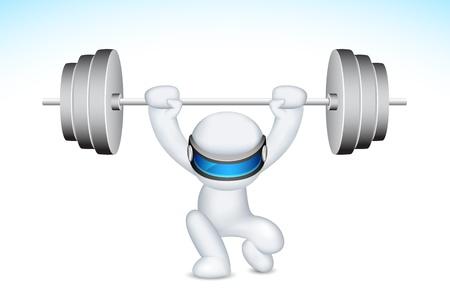 3d ilustración del hombre en el levantamiento de pesas totalmente escalable