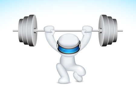 illustration of 3d man in fully scalable lifting weights Vector