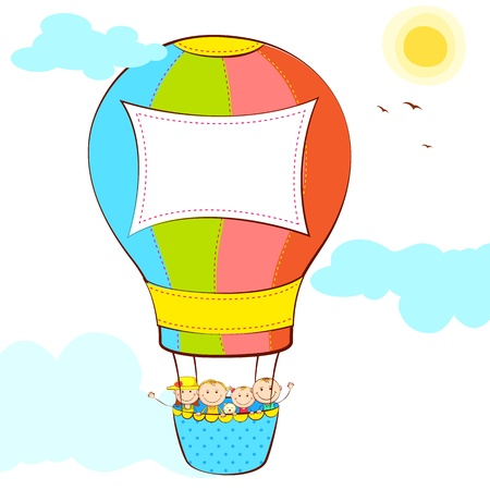 adventure story: illustration of kid in hot air balloon with copy space