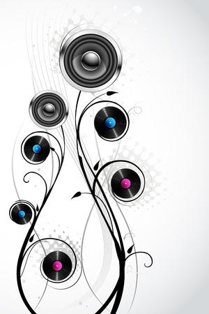 jazz modern: illustration of loudspeaker and disc with floral swirl Illustration