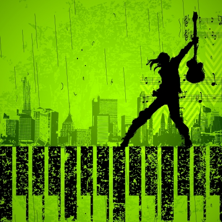 illustration of singer performing with mike on grungy cityscape background Vector
