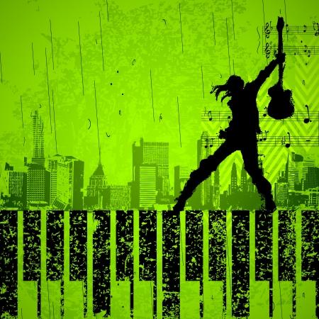 la ilustraci�n de la cantante con micr�fono en la realizaci�n de grungy de fondo paisaje urbano