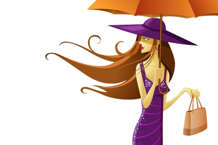 illustration of stylish lady wearing hat with umbrella Stock Vector - 13226766