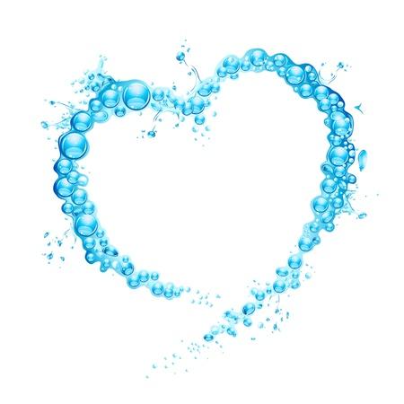 flowing water: la ilustraci�n de la forma de salpicaduras de agua que forma el coraz�n