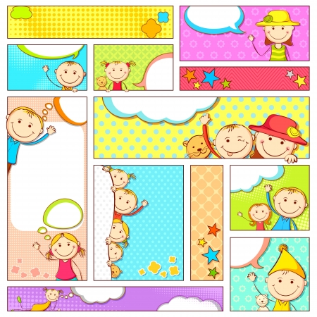peeping: illustration of set of kids banner in different size and layout