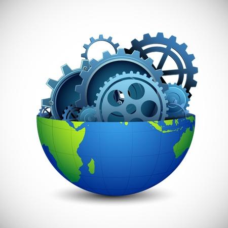 ingenieria industrial: ilustraci�n de la disecci�n de la tierra que muestra el interior de engranajes