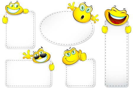 illustration of different size of label with smiley Vector