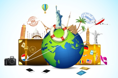 illustration of travel baggage with world famous monument around globe illustration