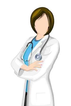 specialists: illustration of female doctor with stethoscope on isolated background