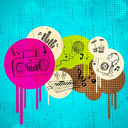 electronic music: illustration of abstract musical background on grungy spot