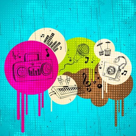 musica electronica: Ilustraci�n de fondo abstracto musical sobre el terreno sucio