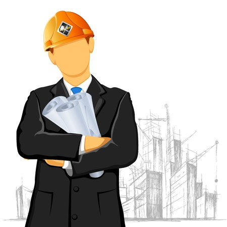 architecture project: illustration of engineer with blueprint on under construction site