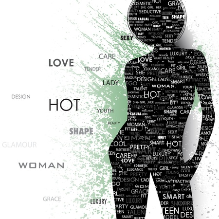 provocative: illustration of lady in fashion word cloud on abstract grungy background