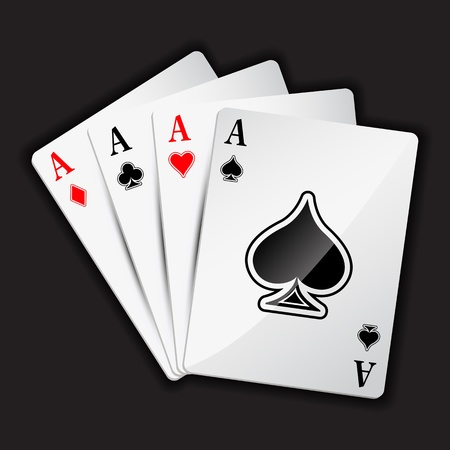 gambling counter: illustration of set of four aces playing card on black background