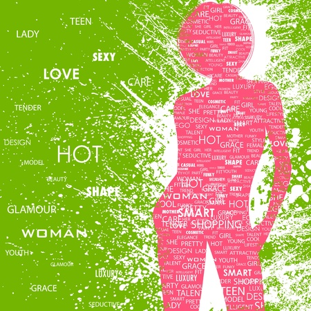 fit body: illustration of lady in fashion word cloud on abstract grungy background