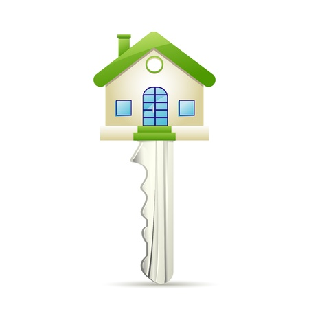 housing estate: illustration of dream house key on white background Illustration