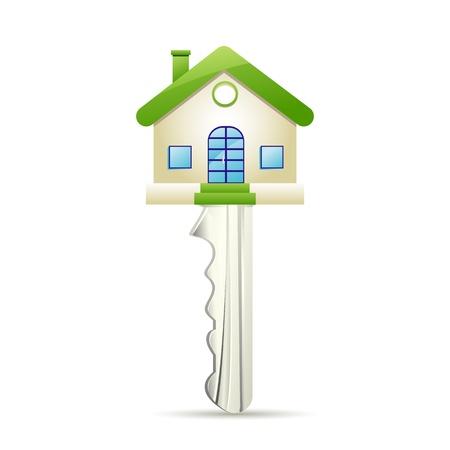 housing estates: illustrazione della chiave di casa da sogno su sfondo bianco