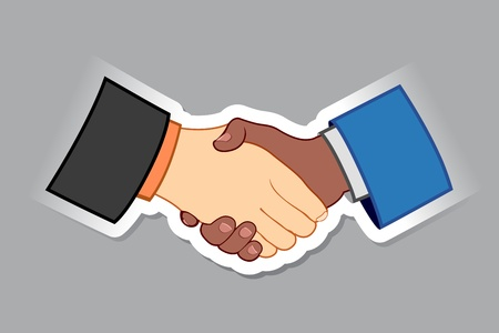illustration of black and white male handshaking with each other Stock Vector - 13285439