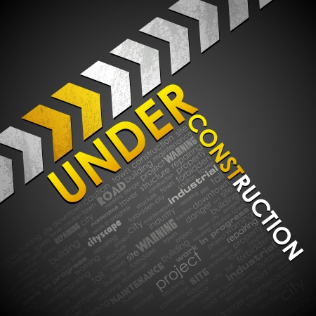 under construction: illustration of under construction background with word cloud
