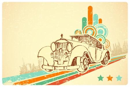 mileage: illustration of vintage car on colorful retro background