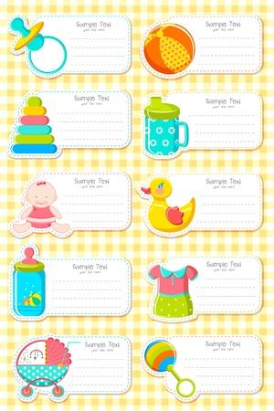 grzechotka: Ilustracja zestaw etykiet z elementem niemowlęcym Ilustracja