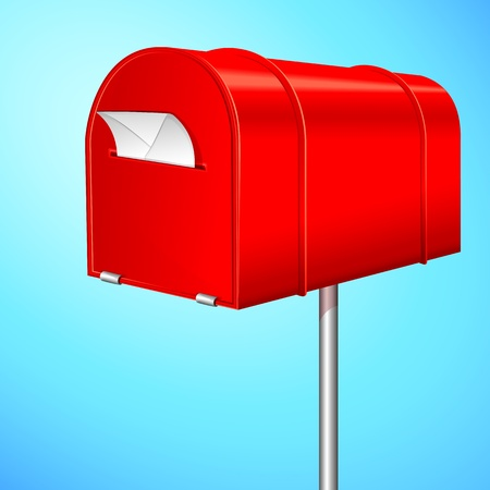 correspond: illustration of letter in letter box post