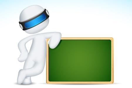 evaluation: Darstellung von 3D-Mann, der mit Kreidetafel in voll skalierbare Vektor-