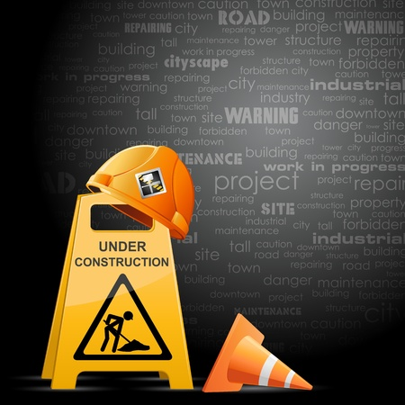 under construction road sign: illustration of hardhat on under construction board
