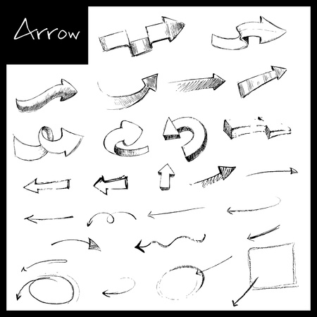 down arrow: illustration of set of hand drawn sketch of arrow