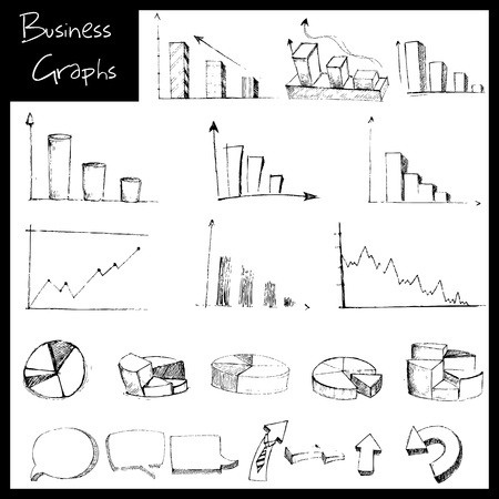 increasing: illustration of set of hand drawn sketch of business graph