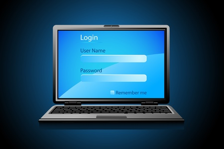 blank computer screen: illustration of login page on notebook screen Illustration