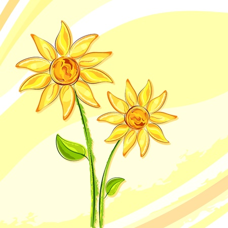 illustration of fresh sunflower on abstract background Vector