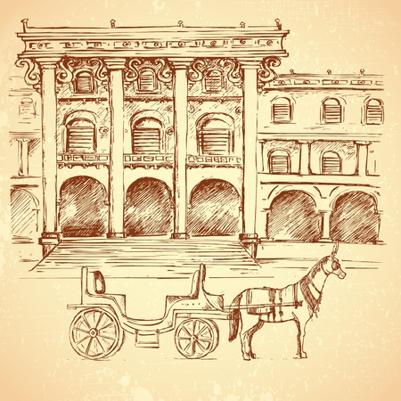 fortification: illustration of sketch of ancient palace on vintage background
