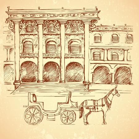 horse cart: illustration of sketch of ancient palace on vintage background