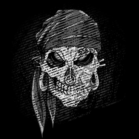 red bandana: illustration of grungy abstract skull on dark background