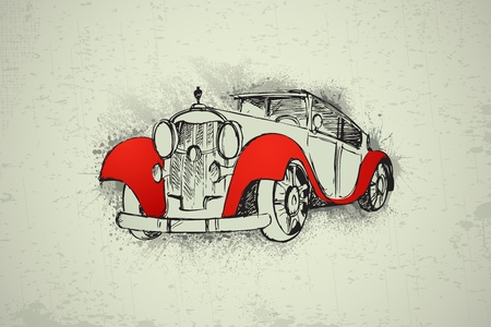 mileage: illustration of vintage car on abstract grungy background