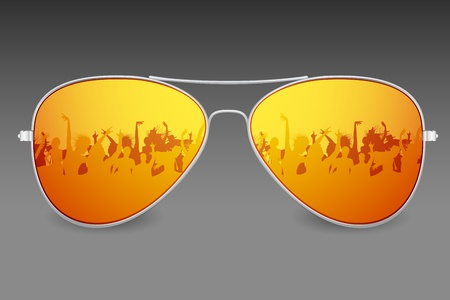 eyeglass: illustration of dancing people on screen of sunglasses Illustration