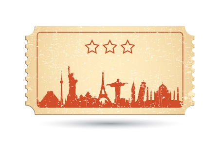 illustration of famous monument around the world on ticket Vector