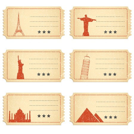 flight ticket: illustration of ticket for different world famous monument