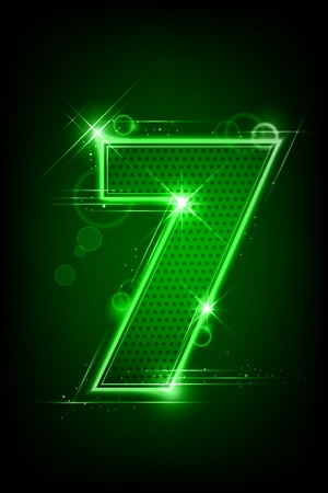 numerical value: illustration of glowing number seven on abstract background Illustration