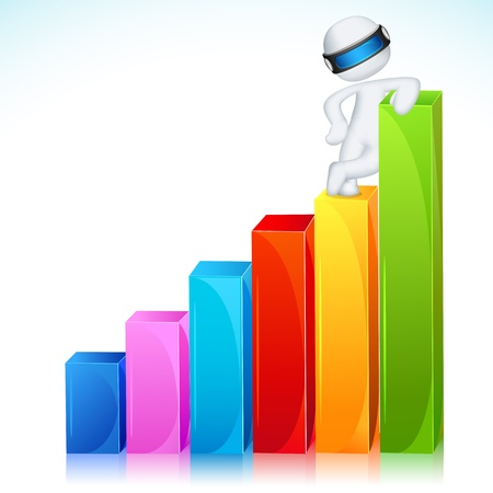 illustration of 3d business man in fully scalable vector standing on bar graph Stock Vector - 13322749
