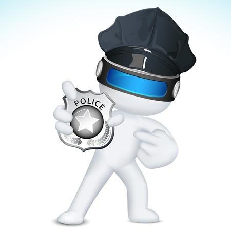 atracador: ejemplo de hombre de la polic�a en el vector 3d placa de polic�a totalmente escalable que muestra