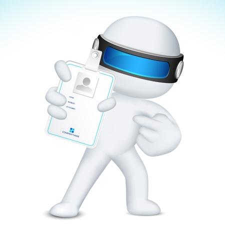 id: illustration de l'homme d'affaires 3d dans la carte d'identit� vecteur totalement �volutif montrant