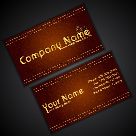 illustration of front and back of corporate business card in leather texture illustration