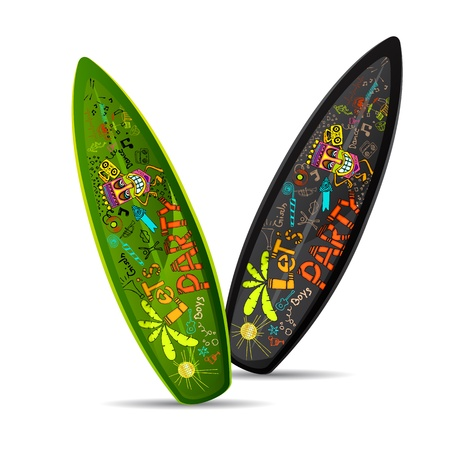 surf board: illustration of colorful doodle on surf board on white background